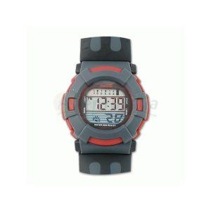 Reloj digital en color rojo-gris con calendario y alarma