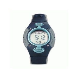 Reloj digital en color azul-gris con calendario y alarma