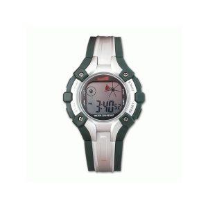 Reloj digital en color verde-plata con calendario y alarma.