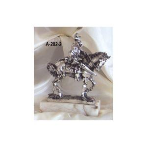 Figura caballo miniatura baño plata 22x16 cm.