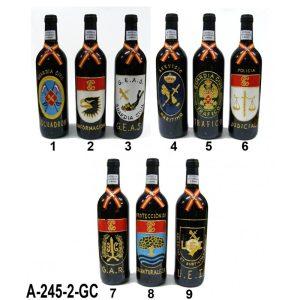 Botella vino plomo decorado a mano emblemas especialidades G.C.