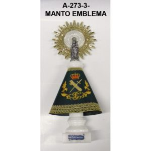 Virgen Manto bordado EMBLEMA, pie marmol blanco