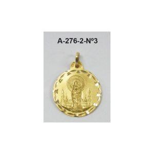 Medalla Virgen Pilar oro redonda para colgar