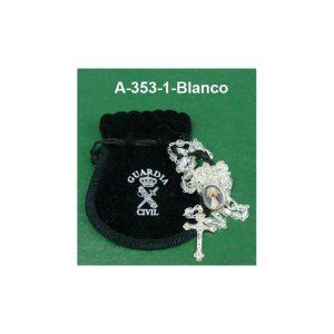 Rosario GC-Virgen Pilar blanco+bolsa terciopelo
