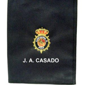 Carpeta nylon portaboletines bordada cuartilla personalizada sin pinza emblema Cuerpo Policia