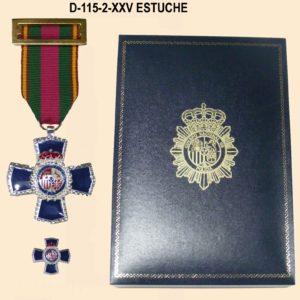 Medalla XXV Años Dedicacion Policial + Medalla tipo pin con Estuche Polipiel