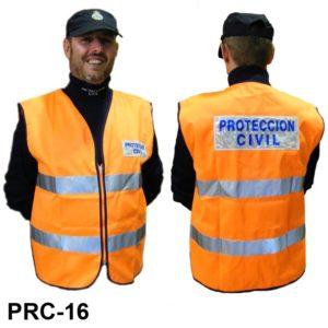 Chaleco Protección Civil Naranja Reflectante