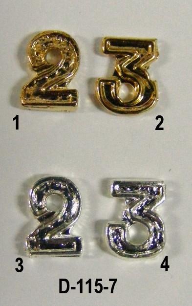 Numerales (2 o 3) dorado o plateado para medallaNumerales (2 o 3) dorado o plateado para medalla