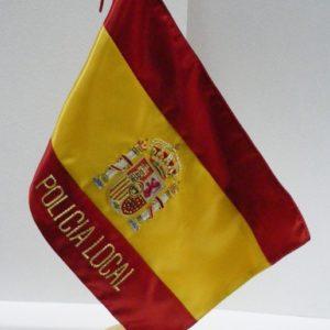 Bandera sobremesa despacho bordada ESPAÑA POLICIA LOCAL