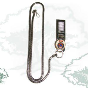 Pinza para silbato Protección Civil con cadena metálica