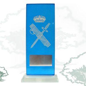 Placa azul cristal Guardia Civil con emblema plateado, grabación no incluida