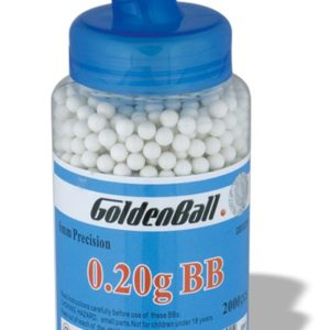 Biberón bolas de plástico Compacta PVC para armas airsoft Golden Ball 6 mm 0.20 gr con 2000 uds de bolas