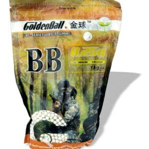 Bolas de plástico PVC para armas airsoft Golden Ball 6 mm 0.25 gr en bolsa con cierre hermético,1 Kg de bolas
