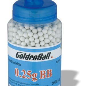 Biberón con Bolas de plástico Compacta PVC para armas airsoft Golden Ball 6 mm 0.25 gr en bote con 2000 bolas