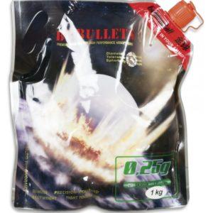Bolas PVC para armas airsoft Golden Ball 6 mm 0.25 gr en bolsa con cierre hermético y 1 Kg de bolas