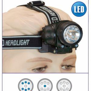 Linterna Frontal 6+2 led + Xenon.3 x AAA
