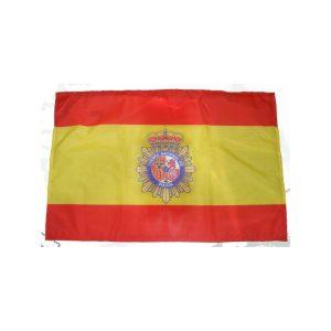 Bandera de España con embema Policia Nacional