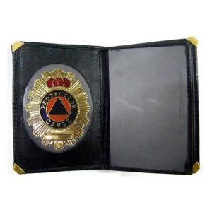 Cartera Protección Civil con billetero y Placa